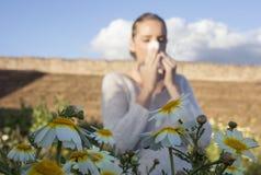 Νέα αλλεργική γυναίκα που φτερνίζεται σε ένα λιβάδι Στοκ Εικόνες