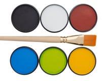 Νέα βάζα aqua makeup με τη βούρτσα στο άσπρο υπόβαθρο Στοκ εικόνες με δικαίωμα ελεύθερης χρήσης