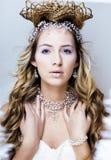 Νέα βασίλισσα χιονιού ομορφιάς στις λάμψεις νεράιδων με την κορώνα στο κεφάλι της Στοκ Εικόνες