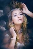 Νέα βασίλισσα χιονιού ομορφιάς στις λάμψεις νεράιδων Στοκ Φωτογραφίες