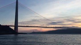 Νέα γέφυρα bosphorus της Ιστανμπούλ, γέφυρα Selim σουλτάνων Yavuz απόθεμα βίντεο