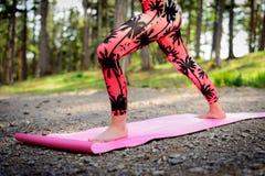 Νέα γιόγκα άσκησης γυναικών σε μια δασική έννοια Mindfulness Η περισυλλογή, χαλαρώνει, απασχολεί και σώμα στοκ φωτογραφίες