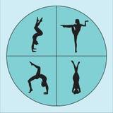 Νέα γιόγκα άσκησης γυναικών σκιαγραφιών Κορίτσι pilates Διανυσματική ανασκόπηση Στοκ Εικόνες