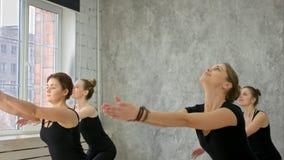 Νέα γιόγκα πρακτικής γυναικών, χαμογελώντας, έχοντας τον υγιή τρόπο ζωής Στοκ φωτογραφία με δικαίωμα ελεύθερης χρήσης