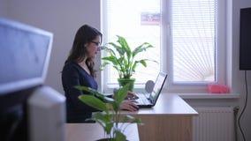 Νέα γυναίκα γραμματέων που εργάζεται στο lap-top στην αρχή απόθεμα βίντεο