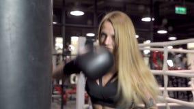 Νέα γυναίκα ικανότητας με τα εγκιβωτίζοντας γάντια που ασκεί με μια punching τσάντα απόθεμα βίντεο