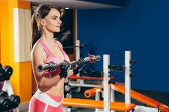 Νέα γυναίκα ικανότητας που κάνει την άσκηση με το barbell στη γυμναστική Στοκ φωτογραφία με δικαίωμα ελεύθερης χρήσης