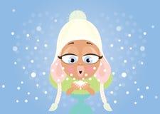 Νέα γυναίκα και χιόνι Στοκ φωτογραφία με δικαίωμα ελεύθερης χρήσης