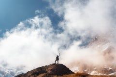 Νέα γυναίκα με αυξημένος επάνω στα όπλα στην αιχμή βουνών στοκ φωτογραφία
