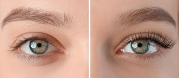 Νέα γυναίκα με τα όμορφα eyelashes, κινηματογράφηση σε πρώτο πλάνο στοκ φωτογραφία με δικαίωμα ελεύθερης χρήσης