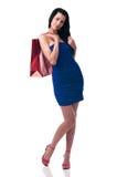 Νέα γυναίκα με τις τσάντες αγορών Στοκ Φωτογραφία