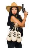 Νέα γυναίκα με τους σάκους πυροβόλων όπλων και χρημάτων Στοκ εικόνα με δικαίωμα ελεύθερης χρήσης