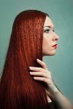 Νέα γυναίκα με το κομψό μακρύ κόκκινο λαμπρό τρίχωμα. Στοκ Εικόνα