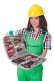 Νέα γυναίκα με το κουτί εργαλείων Στοκ Εικόνα