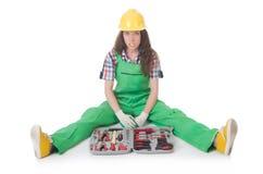Νέα γυναίκα με το κουτί εργαλείων Στοκ φωτογραφία με δικαίωμα ελεύθερης χρήσης