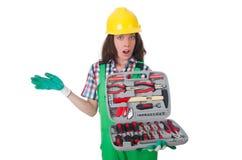 Νέα γυναίκα με το κουτί εργαλείων Στοκ εικόνα με δικαίωμα ελεύθερης χρήσης