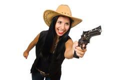 Νέα γυναίκα με το πυροβόλο όπλο που απομονώνεται στο λευκό Στοκ Εικόνες