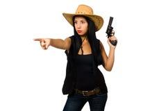 Νέα γυναίκα με το πυροβόλο όπλο που απομονώνεται στο λευκό Στοκ εικόνες με δικαίωμα ελεύθερης χρήσης