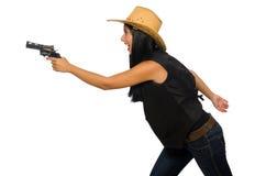 Νέα γυναίκα με το πυροβόλο όπλο που απομονώνεται στο λευκό Στοκ Φωτογραφίες