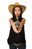 Νέα γυναίκα με το πυροβόλο όπλο που απομονώνεται στο λευκό Στοκ Φωτογραφία