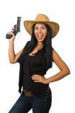 Νέα γυναίκα με το πυροβόλο όπλο που απομονώνεται στο λευκό Στοκ Εικόνα
