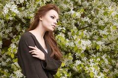 Νέα γυναίκα ομορφιάς στα λουλούδια Apple-δέντρων Στοκ εικόνες με δικαίωμα ελεύθερης χρήσης