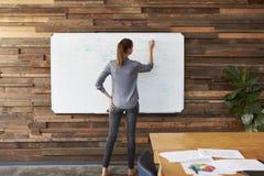 Νέα γυναίκα που γράφει σε ένα whiteboard σε ένα γραφείο, πίσω άποψη στοκ φωτογραφίες