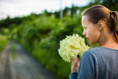 Νέα γυναίκα που επιλέγει elderflower Στοκ εικόνες με δικαίωμα ελεύθερης χρήσης