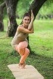 Νέα γυναίκα που κάνει τη γιόγκα στο πάρκο πρωινού Στοκ Εικόνες