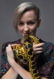 Νέα γυναίκα που κρατά το κίτρινο anaconda Στοκ εικόνες με δικαίωμα ελεύθερης χρήσης