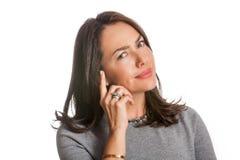 Νέα γυναίκα που παρουσιάζει δυσπιστία που απομονώνεται στοκ φωτογραφία με δικαίωμα ελεύθερης χρήσης
