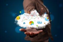 Νέα γυναίκα που παρουσιάζει το σύννεφο με τα διαγράμματα και τα εικονίδια γραφικών παραστάσεων και sym Στοκ φωτογραφία με δικαίωμα ελεύθερης χρήσης