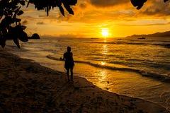 Νέα γυναίκα που περπατά και που χαλαρώνει σε μια τροπική παραλία στους ήλιους Στοκ Φωτογραφία