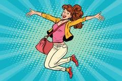Νέα γυναίκα που πηδά, τρόπος ζωής ελεύθερη απεικόνιση δικαιώματος