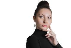 Νέα γυναίκα που σκέφτεται για το somethng σημαντικό Στοκ φωτογραφίες με δικαίωμα ελεύθερης χρήσης