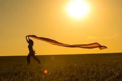Νέα γυναίκα που τρέχει σε έναν αγροτικό δρόμο στο ηλιοβασίλεμα στο θερινό τομέα Υπόβαθρο αθλητικής ελευθερίας τρόπου ζωής Στοκ Φωτογραφία