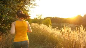 Νέα γυναίκα που τρέχει στο πάρκο απόθεμα βίντεο