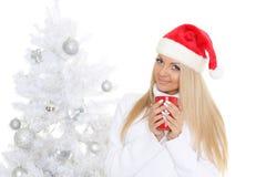 Νέα γυναίκα σε Άγιο Βασίλη ΚΑΠ Στοκ εικόνα με δικαίωμα ελεύθερης χρήσης