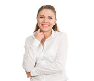 Νέα γυναίκα σε ένα άσπρο πουκάμισο στο άσπρο κλίμα στοκ εικόνα με δικαίωμα ελεύθερης χρήσης