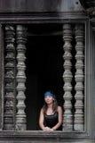 Νέα γυναίκα σε Angkor Wat Στοκ Εικόνα