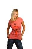 Νέα γυναίκα στην μπλούζα Στοκ Φωτογραφίες
