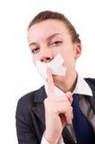 Νέα γυναίκα στη λογοκρισία Στοκ φωτογραφία με δικαίωμα ελεύθερης χρήσης