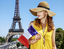 Νέα γυναίκα στη φωτεινή μπλούζα με τη σημαία στο Παρίσι, Γαλλία Στοκ Εικόνες