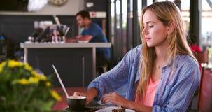 Νέα γυναίκα στον καφέ που λειτουργεί στο lap-top απόθεμα βίντεο