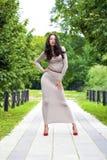 Νέα γυναίκα στο προκλητικό μακρύ γκρίζο φόρεμα στοκ εικόνα με δικαίωμα ελεύθερης χρήσης