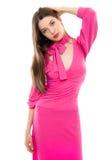 Νέα γυναίκα στο ρόδινο φόρεμα Στοκ Φωτογραφία