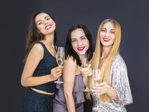Νέα γυναίκα τρία που έχει τη διασκέδαση με τη σαμπάνια Στοκ εικόνα με δικαίωμα ελεύθερης χρήσης