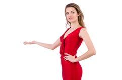 Νέα γυναίκα φόρεμα που απομονώνεται στο κόκκινο στο λευκό Στοκ Εικόνα