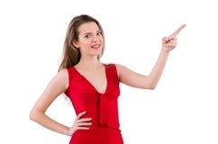 Νέα γυναίκα φόρεμα που απομονώνεται στο κόκκινο στο λευκό Στοκ εικόνες με δικαίωμα ελεύθερης χρήσης