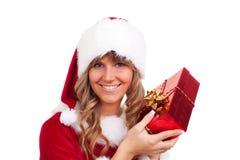 Νέα γυναίκα Χριστουγέννων με ένα παρόν Στοκ φωτογραφίες με δικαίωμα ελεύθερης χρήσης